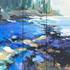 Ocean Blue, acrylic landscape painting by Becky Holuk | Effusion Art Gallery + Glass Studio, Invermere BC Mountain Paintings, Nature Paintings, Landscape Paintings, River Painting, Boat Painting, Lake Art, Spring Landscape, Canadian Artists, Beach Art