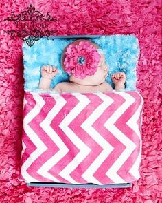 Hot Pink Chevron and Turquoise Double Minky Baby Blanket