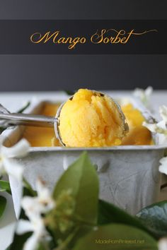 Mango Sorbet. It's really that easy? Simple ingredients = A tropical taste of summer!