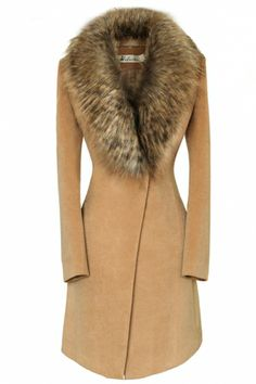 Oversize Faux Fur Collar Slim Coat