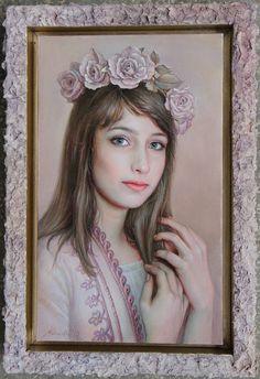 "Maria Ilieva - ""Wreath of roses'' 28/18 oil on canvas"