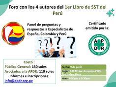 Los invitamos este 9 de junio en Lima de 6:00pm a 9:30pm al Foro en el que estarán los 4 especialistas que publicaron el 1er libro de SST del Péru. Los ponentes expondrán casuísticas muy útiles para todos los especialistas en SST, también podrán hacerles preguntas y tomarse fotos.