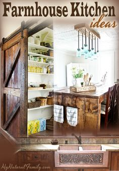 Farmhouse Kitchen Ideas....love the sliding barn door for the pantry