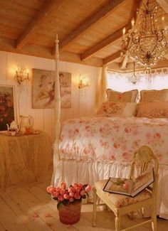 Flowery bedroom with wood floors and ceiling, fancypants chandelier