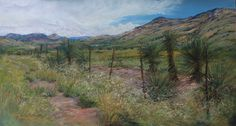 RIDING THE FENCE pastel by Lindy C Severns 2012. High desert ranchland between Alpine, TX and Big Bend National Park under a West Texas sky.