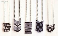 DIY geometric jewelry jewelry || The origin of this doesn't seem to work for me but from the looks of it they are made w/ shrinky dink type sheets a sharpie or some other fine tipped marker/pen.