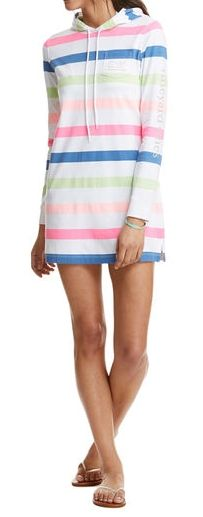 Long-Sleeve Striped Whale Hoodie Cover-Up