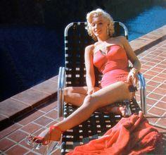 Marilyn Monroe wearing lucite heels by Harold Lloyd, 1953