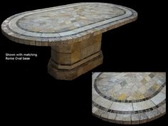 Sedona Mosaic Tile Table Top with Matching Roma Oval Table Base