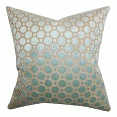 "Cotton throw pillow with a trellis motif and down fill. Made in the USA.     Product: PillowConstruction Material: Cotton cover and down fillColor: MineralFeatures:  Insert includedHidden zipper closureMade in the USA Dimensions: 18"" x 18""Cleaning and Care: Spot clean"