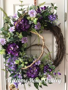 Spring Wreath, Front Door Wreath, Purple Wreath, Honeysuckle, Farmhouse, Wedding, Mother's Day, Floral Wreath, Grapevine Wreath, Home Decor by WelcomeHomeGallery on Etsy