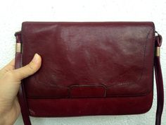 70s Distressed Leather Messenger Bag, Maroon Purse, Oxblood Clutch, Slim Shoulder Bag, Aged Crossbody, Burgundy Pouch, Wine Red Satchel by BlastFromThePastBags on Etsy