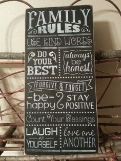 FAMILY RULES Hand Painted Wall Decor Wood Sign by SiMpleGalz, $45.00
