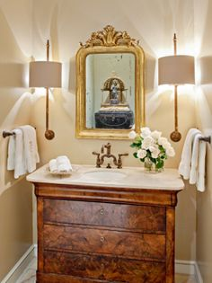 "Repurposed antique chest converted to bath vanity sink: ""I have sold many antique commodes, chests and sideboards that interior designers & clients have beautifully transformed as bath vanities with single or double sinks--- adding much more charm & value than standard stock or custom cabinets for less than expected"" Carolyn Williams, Antiques & Interiors, Atlanta & Roswell, GA"