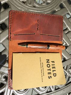 Leather Field Notes cover, oil tanned leather, black thread, edges dyed black. Handcrafted in Raleigh, NC. #leather, #fieldnotes, #notes, #cover, #handcrafted