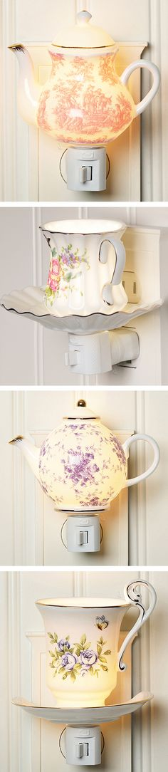 Tea pot and tea cup mini porcelain night lights - cute for the kitchen #product_design