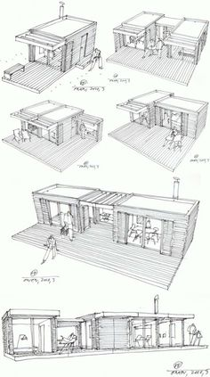 Modular Home Additions in rustic style >> The One house is a compact house design based on the principle of Legos – just add pieces to build on the structure. Each cottage-chic module measures and is prefabricated using local Swedish materials in a Container Home Designs, Container Architecture, Rustic Coffee Shop, Coffee Shops, Coffee Coffee, Add A Room, Compact House, Casas Containers, Building A Container Home