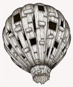 Hot air balloon lithograph. $20