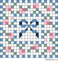 Anne-Orr-style-ribbon-doll-quilt-pattern ~ use any cross stitch design to make your own pattern; the bow is cute