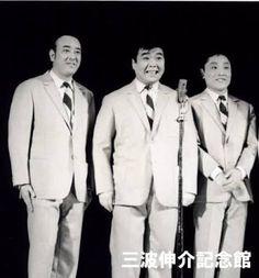 """てんぷくトリオ。Comedy trio """"Tenpuku Torio"""" active during 1961~1973, Japan. ★子供の頃、漫才よりもトリオやコントが主流の時代でした。真ん中の、三波伸介 (みなみしんすけ) が最も個性的なキャラ。ホンジャマカの石塚が出始めた (というより、太り始めた) 頃、石ちゃんを見る度に三波伸介を思い出していました。左の戸塚睦夫は小梅太夫のスッピンに良く似ています。それぞれ働き盛りの40代と50代に亡くなりました。ひとり残された伊東四朗 (右) はその後バラエティーで大活躍。今や俳優として唯一無二の存在ですが、どのような思いでここまで走って来たのか…感慨深いものがあります。"""