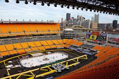 Stadium Series: The Pittsburgh Penguins hold a team hockey practice at Heinz Field, Feb. 24, 2017, in Pittsburgh. The Penguins are preparing to face the Philadelphia Flyers in an outdoor hockey game Saturday.