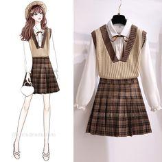 Mode Outfits, Korean Outfits, Stylish Outfits, Korean Girl Fashion, Look Fashion, Fashion Design, Fashion Drawing Dresses, Fashion Dresses, Korea Dress
