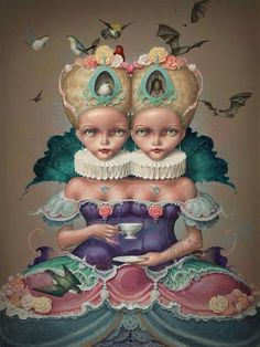 """The Difference Between You and Me"" Artist: Daniel Merriam Arte Lowbrow, Art Fantaisiste, Et Tattoo, Yakuza Tattoo, Street Gallery, Arte Pop, Pop Surrealism, Fantastic Art, Whimsical Art"