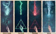 Deathly Hallows spells. Great bookmarks. Harry potter fan stuff