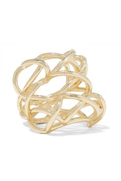 Jennifer Fisher's ring is inspired by shoe laces. It's cast from gold-plated brass and has a generously sized, knuckle-grazing shape. Wear it solo on your middle finger for the biggest impact. Gold Plated Bracelets, Gold Plated Rings, Rose Gold Earrings, Silver Hoop Earrings, Gold Lace, Lace Up, Jennifer Fisher, Silver Hoops, Messing