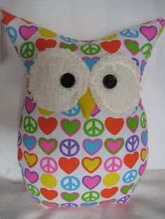 Hooters Stuffed Owl Pillow Joy by sweetpitas on Etsy, $14.00