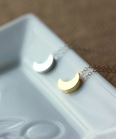 Crescent Moon NecklaceSterling SilverMoon by MakiYDesign on Etsy, $27.00