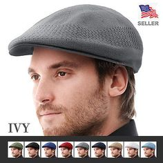 dd9b1a711a4 Ivy Cap Hat Mens Driving Newsboy Golf Summer Bucket Cabbie Ventair K-Style  Mesh
