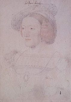 Eleanor of Habsburg whilst Queen of France by Jean Clouet.  It was Eleanor, who reportedly refused to be present, as Queen of France, to meet Henry VIII and Anne Boleyn in Calais, she also did not acknowledge Anne Boleyn. Her loyalties, as the rest of her family, remained with her aunt, Katharine of Aragon.