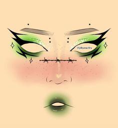 Punk Makeup, Anime Makeup, Edgy Makeup, Eye Makeup Art, Ethereal Makeup, Graphic Makeup, Makeup Face Charts, Makeup Drawing, Creative Makeup Looks