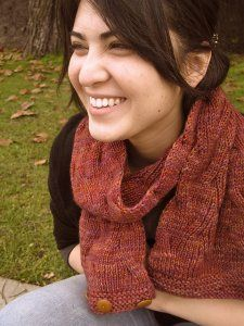 """Reversible Tangled Branches Cowl Kit - priced from $44.00 to $72.00. """"This cute cabled cowl can be knit long enough to wrap once or twice around your neck for an extra cozy fit."""""""