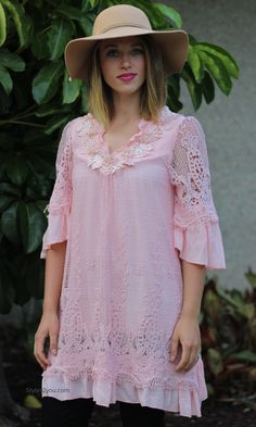 Altalune Shirt Dress In Peach, Women's Online Designer Boutique, Boho Chic Vintage Women's Clothing from Styles2you.com