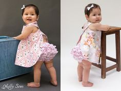 Make a super simple criss cross pinafore bloomers with this free dress and bloomers pattern