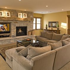 Fireplace and TV next to each other . not to mention the furniture # furniture arrangement . Fireplace and TV next to each other . not to mention the furniture # furniture arrangement . Fireplace Tv Wall, Fireplace Remodel, Living Room With Fireplace, New Living Room, Fireplace Design, Fireplace Furniture, Fireplace Ideas, Basement Fireplace, Tv Furniture