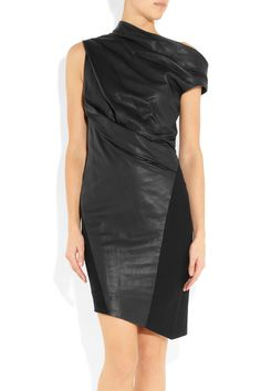 HELMUT LANG  asymmetric leather and wool dress