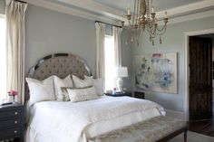 Wall color is Sherwin Williams Silver Strand - Julie Couch Interiors