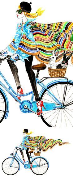 Bike Girl, outfit inspired by Ralph Lauren Spring 2013 RTW-Illustration by Sunny Gu #fashion #illustration #fashionillustration