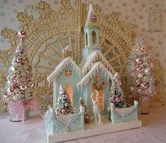 Resultado de imagen para christmas putz house  .bases