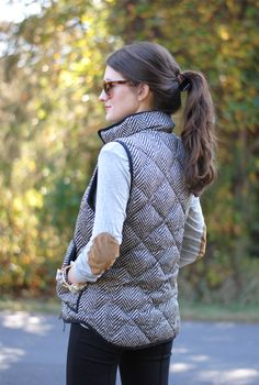 elbow patch sweater in grey marl // J.Crew vest // Absolutely love everything about this.