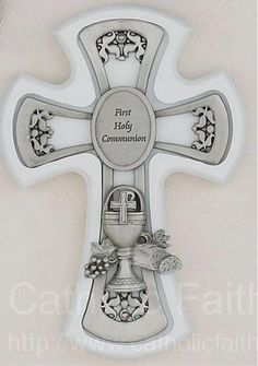 "White First Communion Wall Cross - 6""H"