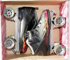 ROCK Outdoor Quad Roller Skates Flame Speed Skating Speed Freak Used with Box