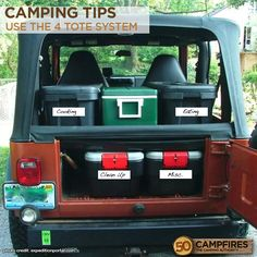 Camping Tips: Use 4 totes to keep organized. Cooking, Eating, Clean Up and Miscellaneous. It works so good!