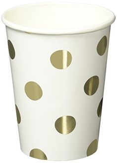 Ginger Ray PM-904 Pick And Mix Foiled Polka Dot Paper Party Cups (8 Pack), Gold