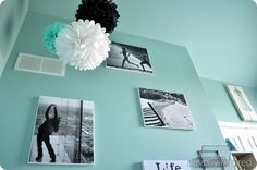 lots and lots of black white aqua decor ideas for girls' room