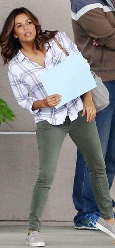 Who made  Eva Longoria's gray plaid shirt?