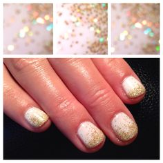 Studio White Shellac with free edge holographic gold glitter fade. Katy Perry Inspired Nails by SNS Services. https://twitter.com/KatyLambson http://instagram.com/sugarnspiceservices http://www.sugarnspiceservices.com/ https://www.facebook.com/pages/Sugar-N-Spice-Services/154124371266652?ref=bookmarks http://www.knowyournails.com/